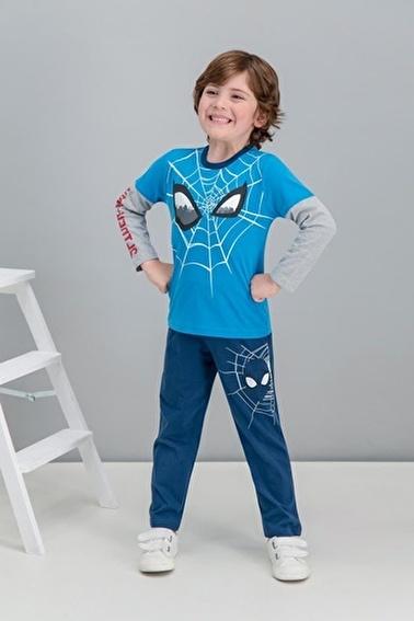 Spider-Man Spider Man Lisanslı Cobalt Mavi Erkek Çocuk Pijama Takımı Mavi